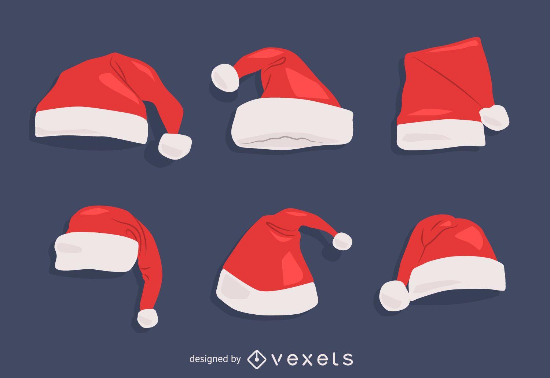 Conjunto de ilustraciones de gorro de navidad santa