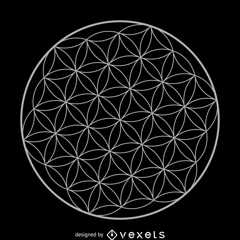 Desenho de geometria sagrada da flor da vida