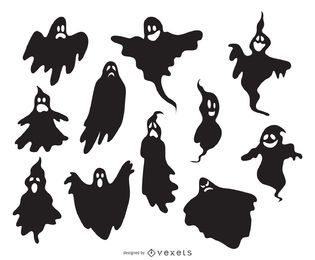 Creepy illustrated ghost silhouettes