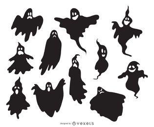 Silhuetas fantasmas ilustradas assustadoras