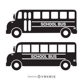 Silhuetas de ônibus escolar isolado