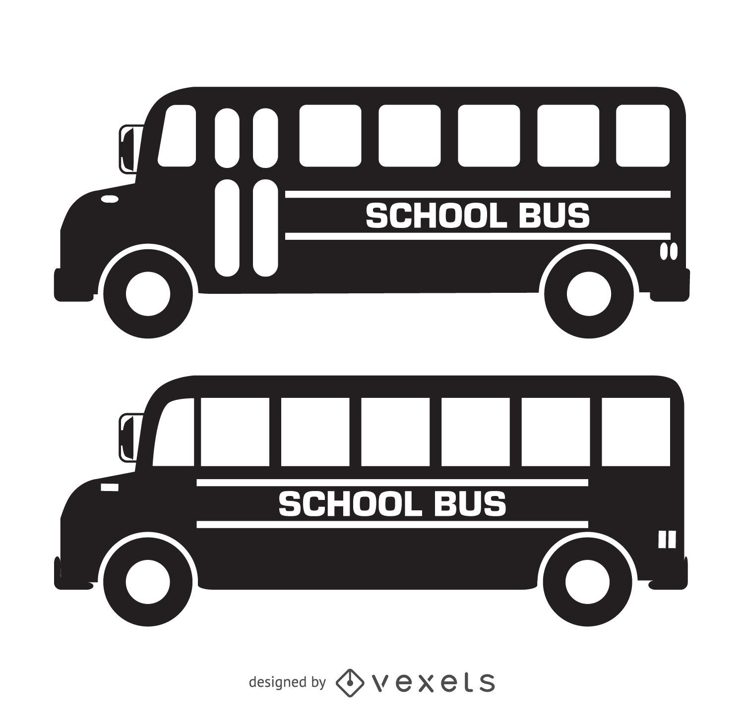 Isolated school bus silhouettes