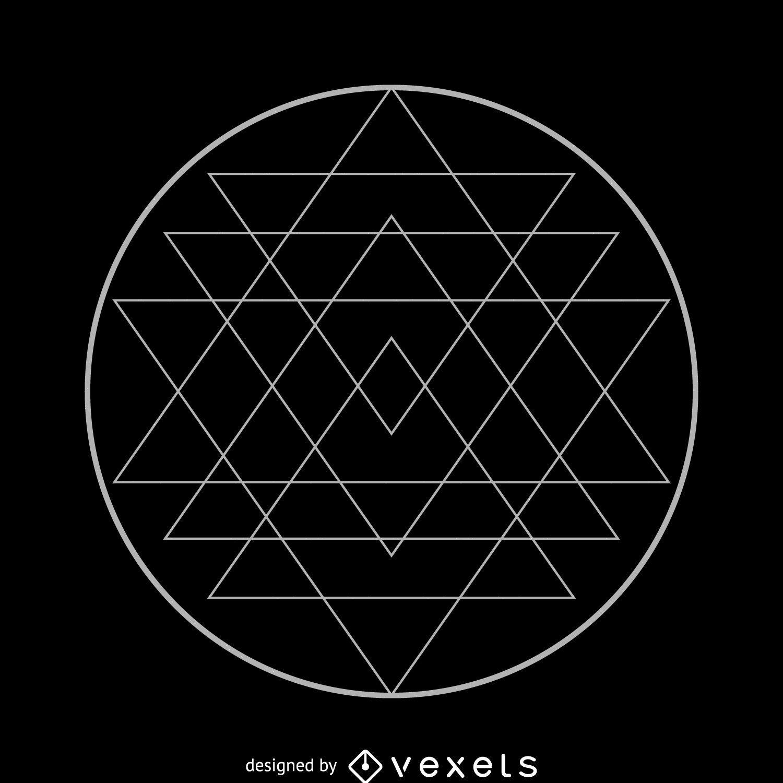 Desenho de geometria sagrada do Sri Yantra