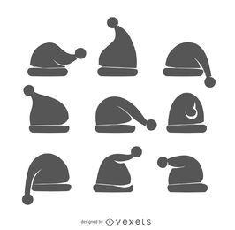 Conjunto de siluetas de sombrero de santa de Navidad