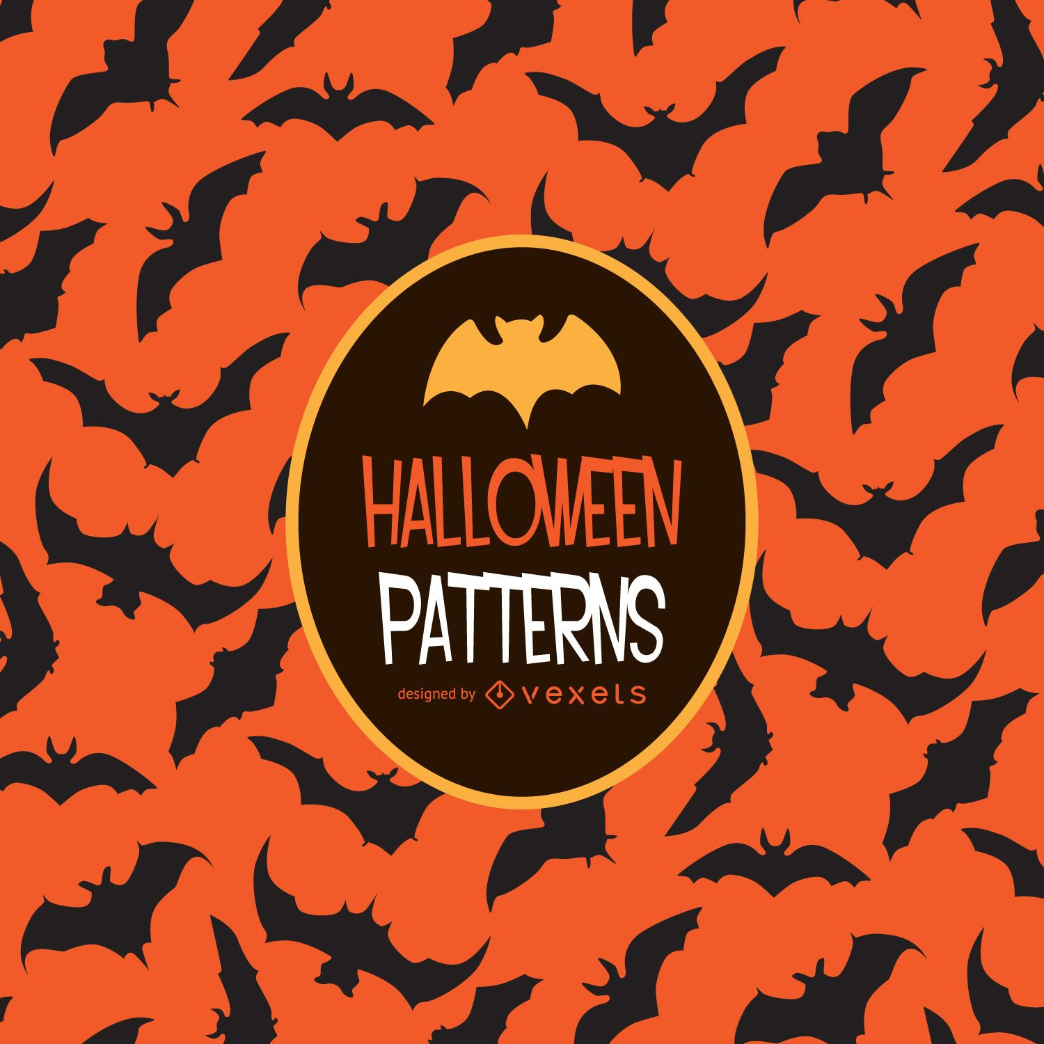 Halloween orange bat pattern vector download