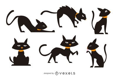Isolated black cat illustration set