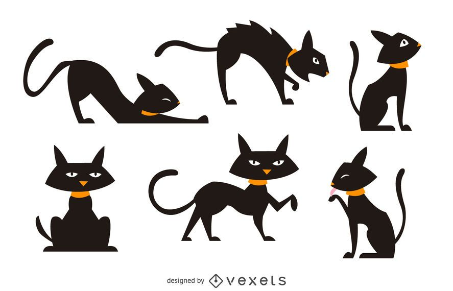 Getrenntes Illustrationsset der schwarzen Katze