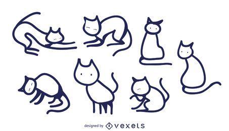 Conjunto de garabatos de gato aislado