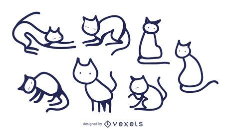 Isolated cat doodles set