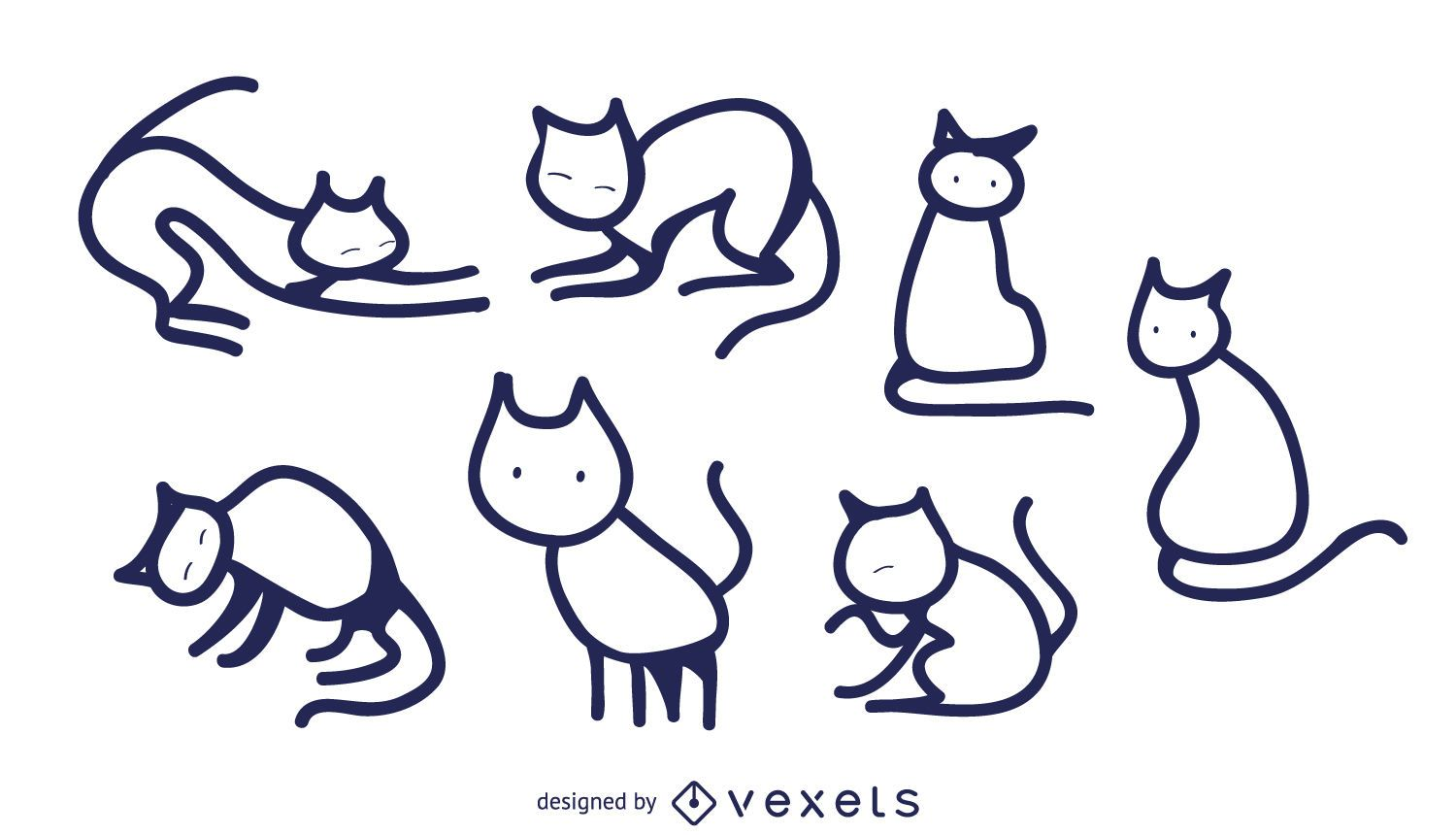 Isolated Cat Doodles Set Vector Download