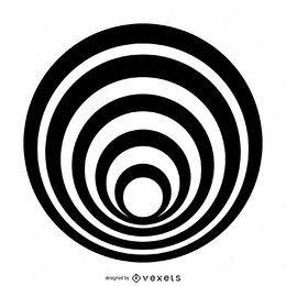 Desenho de círculo listrado isolado