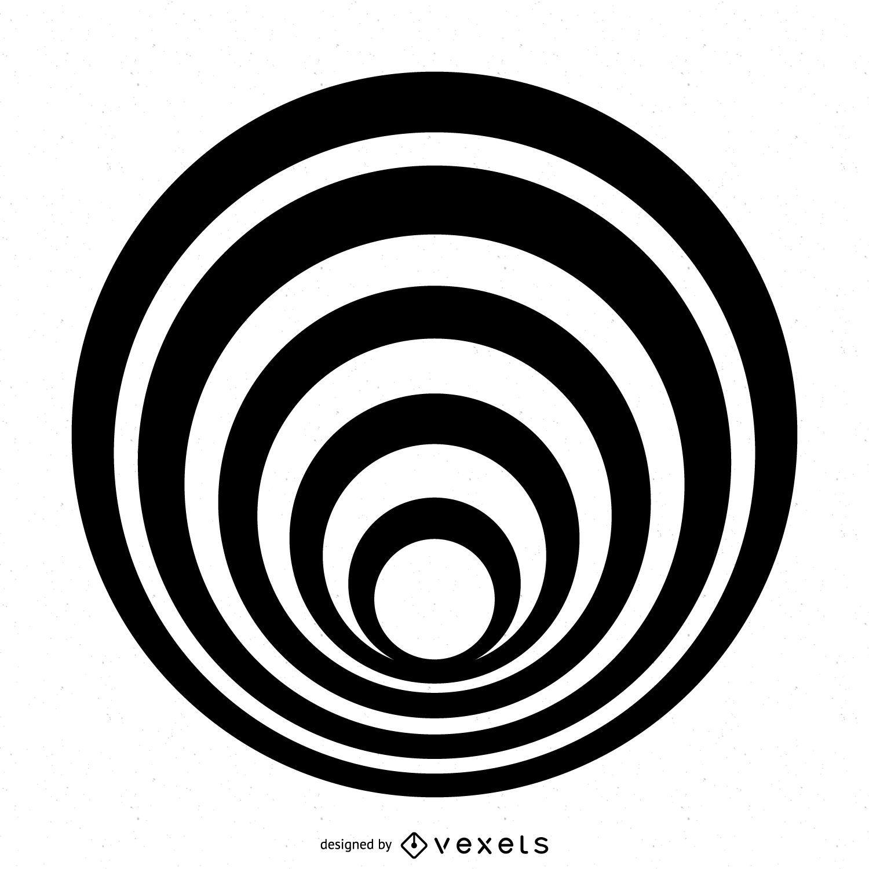 Diseño de círculo rayado aislado