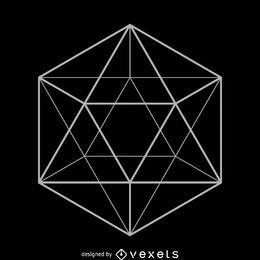 Desenho de geometria sagrada de Icosahedron