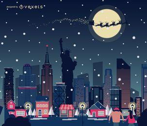 Skyline de Natal de Nova York a nevar