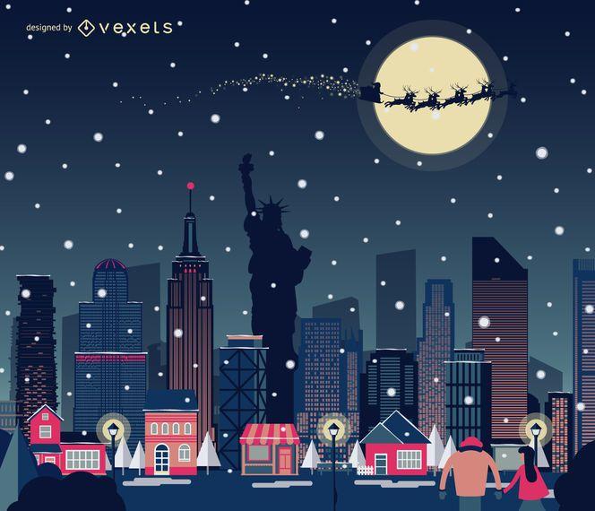 New York Christmas skyline snowing