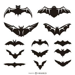 13 bat illustrations and silhouettes