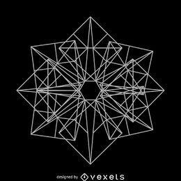 Desenho de geometria sagrada quadrada complexa