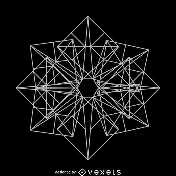 Dibujo de geometría sagrada cuadrada compleja.