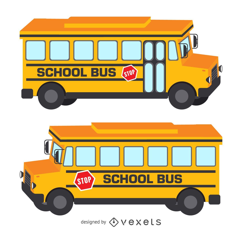 Ilustración de autobús escolar 3D aislado