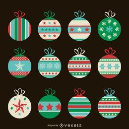 Conjunto de adornos navideños planos