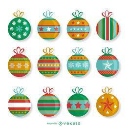 Conjunto de enfeites de Natal estampados
