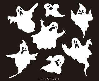 Set de 7 siluetas de fantasmas.