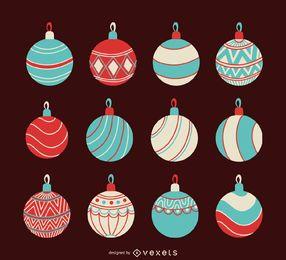 Conjunto de enfeites de Natal em tons pastel
