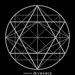 Desenho de geometria sagrada de triângulos de círculo