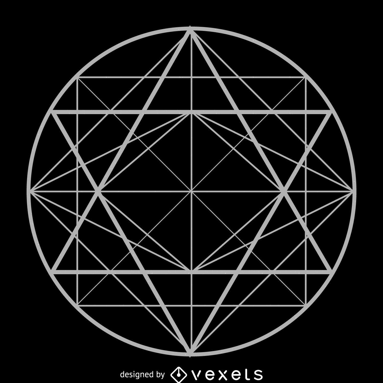 Desenho de geometria sagrada de tri?ngulos circulares