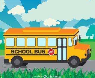 Ilustración de autobús escolar en la carretera