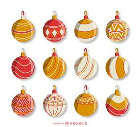Christmas red orange ornament set