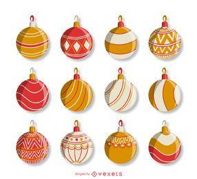 Conjunto de enfeites de natal vermelho e laranja