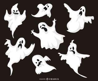 Conjunto de ilustrações de fantasma de Halloween