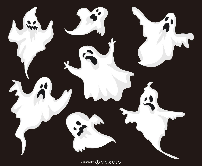 Conjunto de ilustraciones de fantasmas de halloween