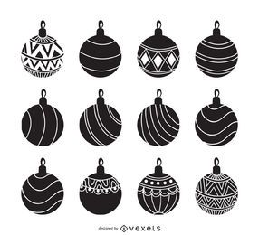 Christmas ornament silhouette set