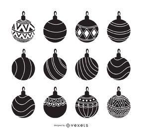 Christmas ornament silhouette set