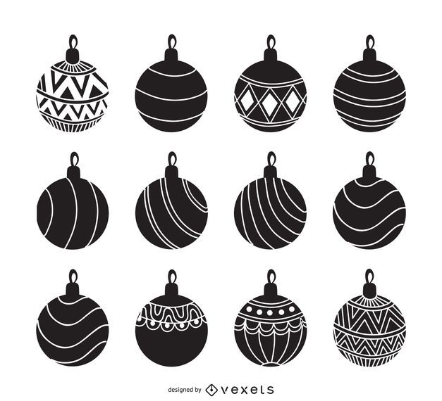 christmas ornament silhouette set vector download rh vexels com christmas ornament vector clipart christmas ornament vector free