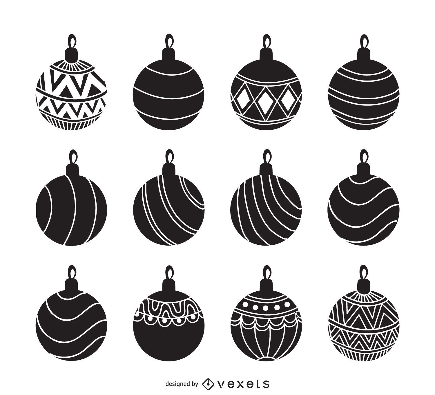 Christmas ornament black and white - Christmas Ornament Silhouette Set Download Large Image 1760x1600px
