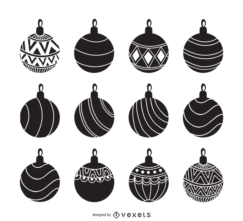 Ornamento conjunto silueta de la Navidad - Descargar vector
