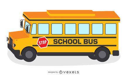 Ilustración del autobús escolar amarillo