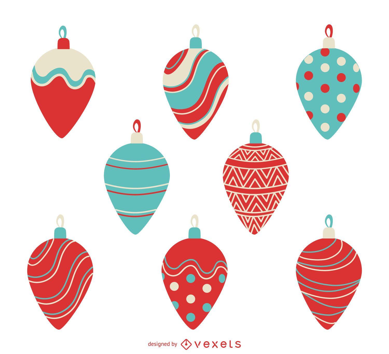 Christmas illustrated decorations set