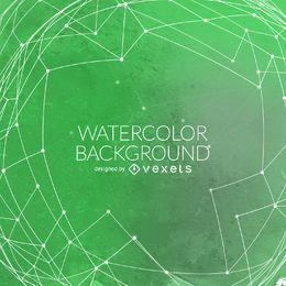 Grüner Aquarellhintergrund mit Ineinander greifen
