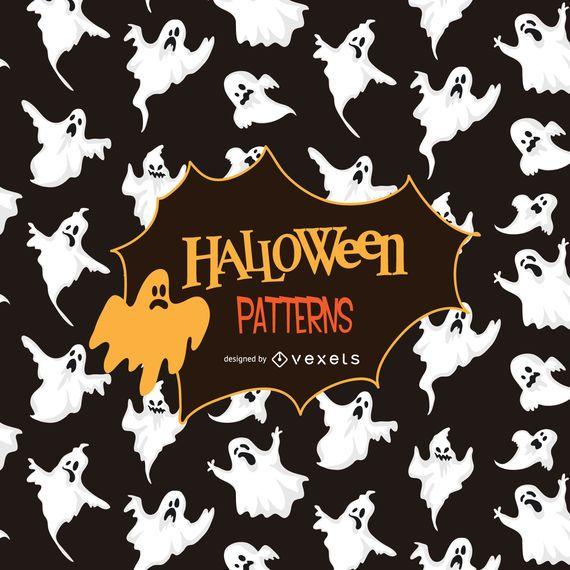 Halloween ghost silhouette pattern