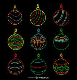 Christmas neon ornament set