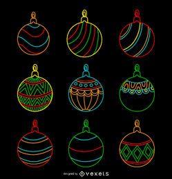 Natal conjunto de néon ornamento