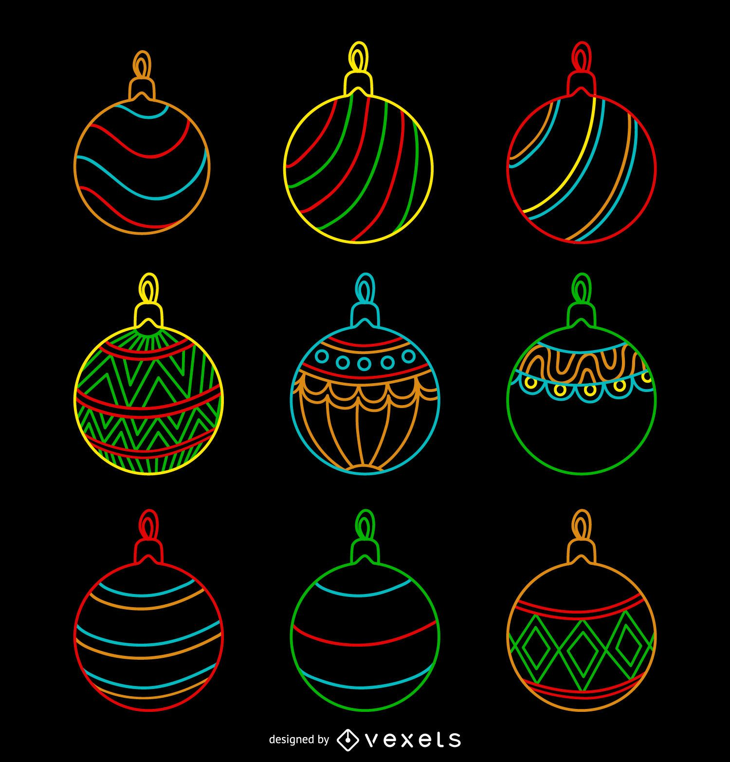 Christmas neon ornament set - Vector download