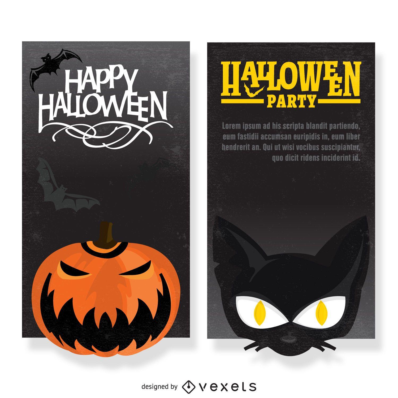 Halloween party flyer set - Vector download
