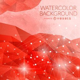 Red watercolor background with nodes