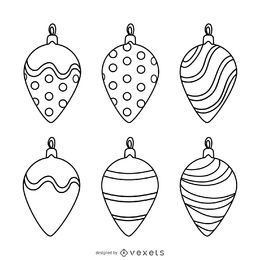 Christmas decoration outlines set