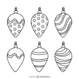 Conjunto de contornos de decoración de navidad